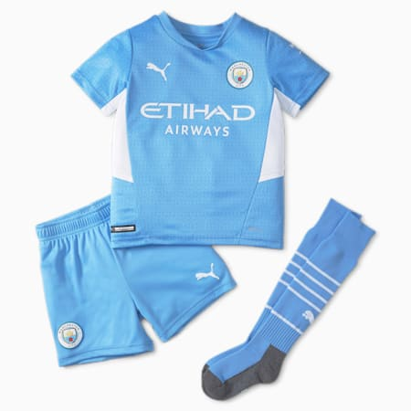 Man City voetbal mini thuistenue voor jongeren 21/22, Team Light Blue-Puma White, small