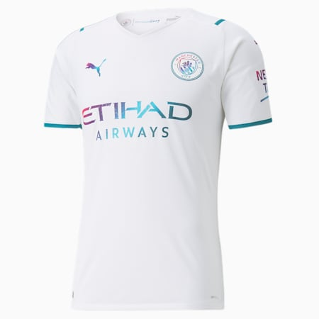 Maillot Man City Away Authentic homme 21/22, Puma White-Ocean Depths, small