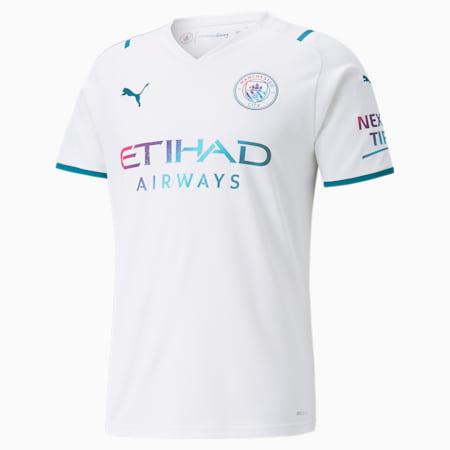 Reproduction de maillot à l'extérieur Manchester City, homme, Blanc Puma-profondeurs de l'océan, petit