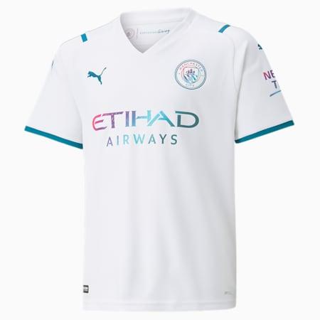 Manchester City Away Kid's Replica Shirt, Puma White-Ocean Depths, small-IND