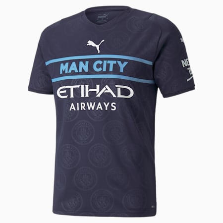 Reproduction du maillot Man City Third, homme, Bleu caban-blanc PUMA, petit