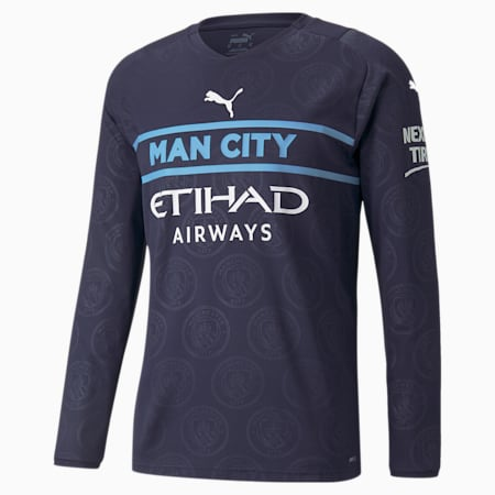 Man City Replica derde shirt met lange mouwen voor heren 21/22, Peacoat-Puma White, small