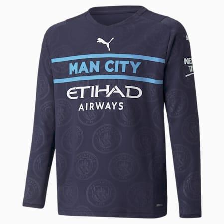 Młodzieżowa replika dodatkowej koszulki Man City z długim rękawem 21/22, Peacoat-Puma White, small