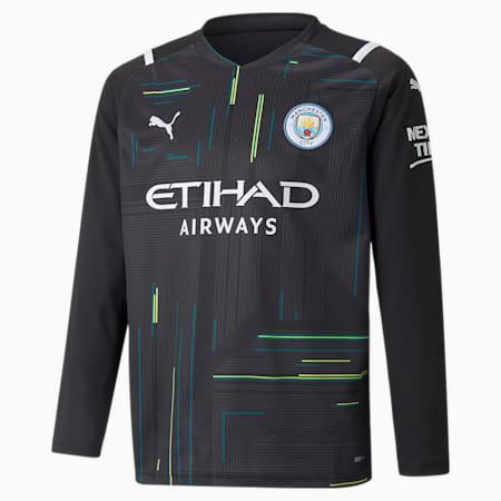 Man City Goalkeeper Replica Long Sleeve Youth Jersey, Puma Black-Puma White, small-GBR