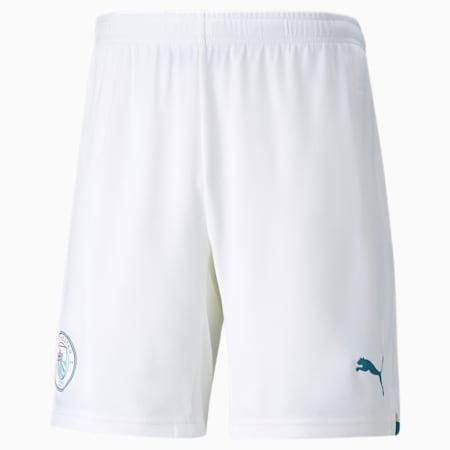 Manchester City Men's Replica Shorts, Puma White-Ocean Depths, small-IND