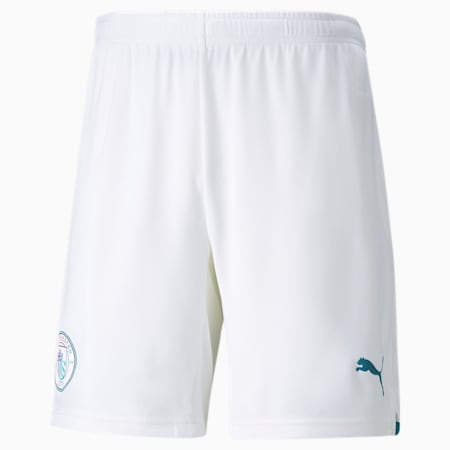 Réplica de shorts de fútbol Manchester City para hombre, Puma White-Ocean Depths, pequeño