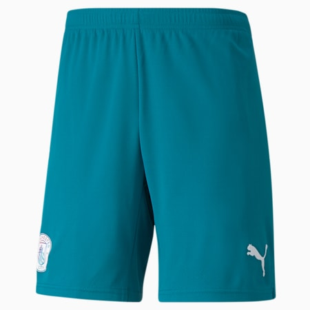 Man City Replica Men's Football Shorts 21/22, Ocean Depths-Puma White, small-GBR