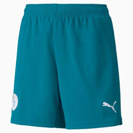 Man City Replica Youth Football Shorts, Ocean Depths-Puma White, small-GBR