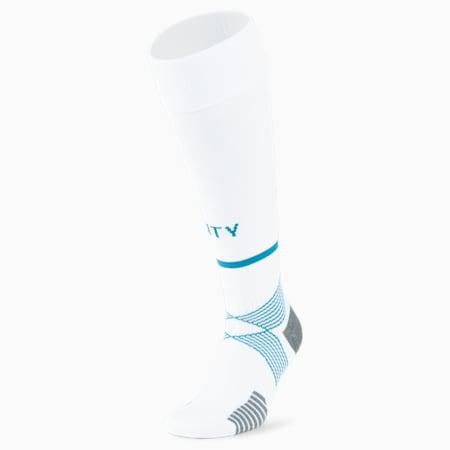 Man City Replica Band Men's Football Socks, Puma White-Ocean Depths, small