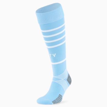 Man City Replica Hooped Men's Football Socks, Team Light Blue-Puma White, small