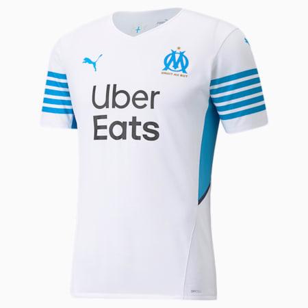 Camiseta auténtica para hombre de la 1.ª equipación del OM 21/22, Puma White-Bleu Azur, small