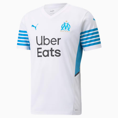 Męska replika domowej koszulki OM ze sponsorami 21/22, Puma White-Bleu Azur, small