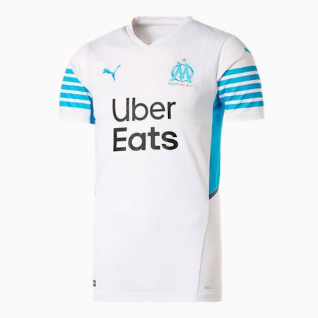 オリンピック マルセイユ OM ホーム 半袖 レプリカ シャツ ユニフォーム, Puma White-Bleu Azur, small-JPN