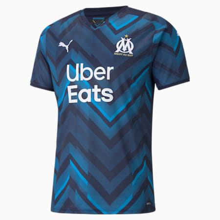Męska replika wyjazdowej koszulki OM ze sponsorami 21/22, Peacoat-Bleu Azur, small