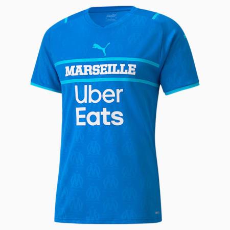 Camiseta réplica de la 3.ª equipación del OM para hombre con patrocinadores 21/22, Electric Blue Lemonade-Blue Atoll, small
