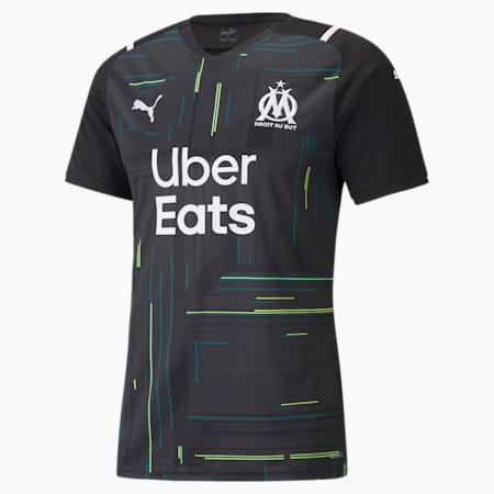 Camiseta de portero para hombre réplica del OM con patrocinadores 21/22, Puma Black-Puma White, small