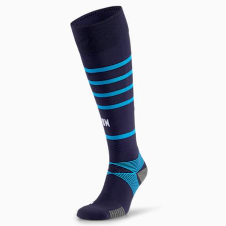 OM Replica Hooped Men's Football Socks, Peacoat-Bleu Azur, small