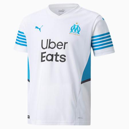 Młodzieżowa replika domowej koszulki OM 21/22, Puma White-Bleu Azur, small