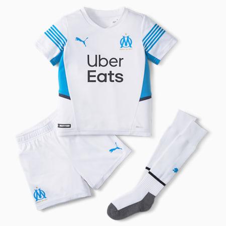 Kit mini juvenil de fútbol de la 1.ª equipación del OM 21/22, Puma White-Bleu Azur, small