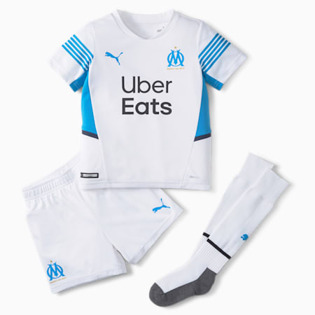 OM Home Youth Football Mini-Kit, Puma White-Bleu Azur, small
