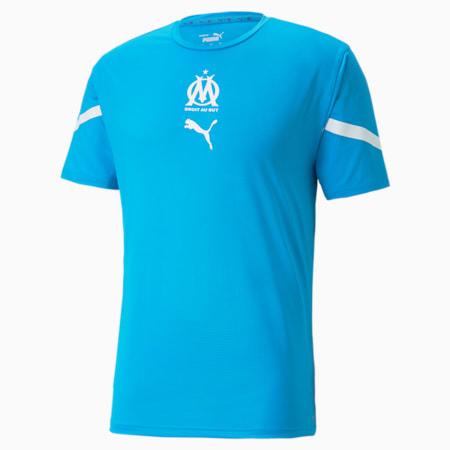 Maillot avant-match OM homme, Bleu Azur-Puma White, small