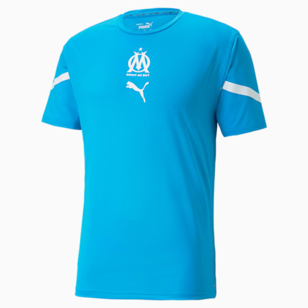 OM Prematch Men's Jersey, Bleu Azur-Puma White, small