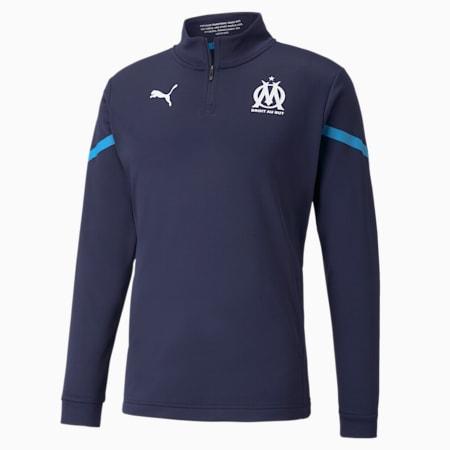 Męska koszulka piłkarska OM Prematch z zamkiem 1/4, Peacoat-Bleu Azur, small