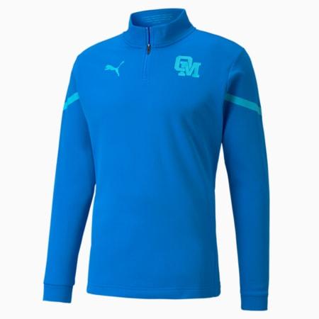 OM Prematch voetbalshirt met kwartrits voor heren, Electric Blue Lemonade-Blue Atoll, small