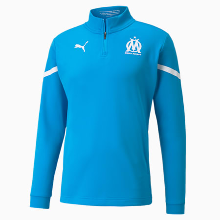 Haut de football avant-match fermeture zippée courte OM homme, Bleu Azur-Puma White, small