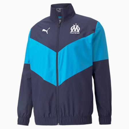 OM Prematch Men's Football Jacket, Peacoat-Bleu Azur, small