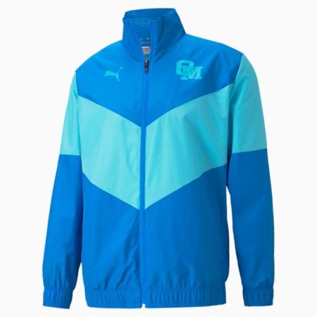 OM Prematch Men's Football Jacket, Electric Blue Lemonade-Blue Atoll, small-GBR