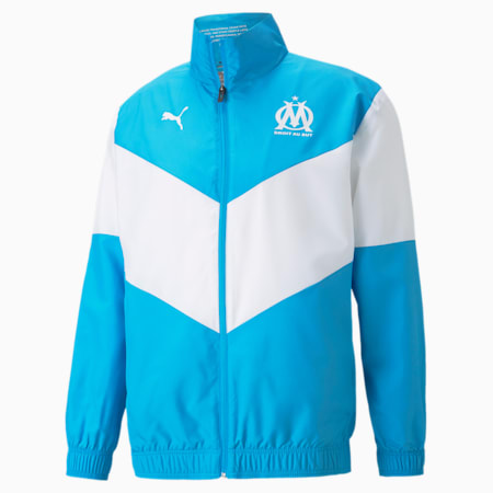 Męska kurtka piłkarska OM Prematch, Bleu Azur-Puma White, small