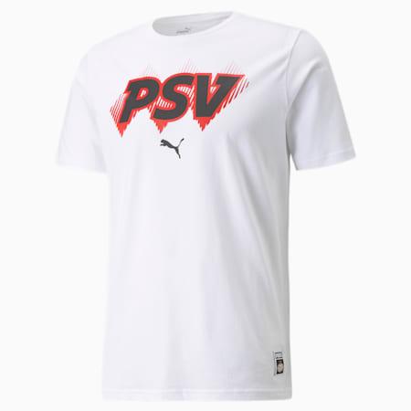 PSV FtblCore Men's Football Tee, Puma White-High Risk Red, small