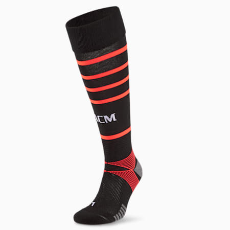 AC Milan Replica Hooped Men's Football Socks, Puma Black-Red Blast, small