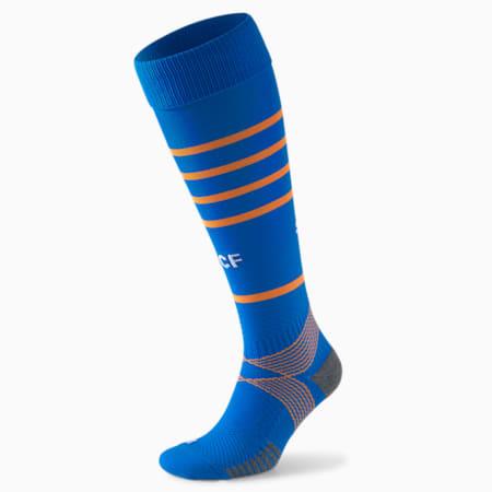 Valencia CF Replica Hooped Men's Football Socks 21/22, Electric Blue Lemonade-Vibrant Orange, small