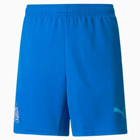 OM Third Replica Youth Football Shorts 21/22, Electric Blue Lemonade-Blue Atoll, small