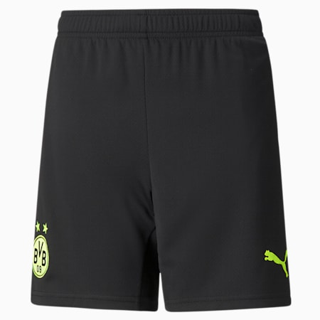 BVB Cup Replica Youth Football Shorts, Puma Black-Safety Yellow, small-GBR