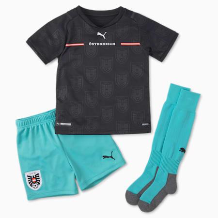 Austria Away Youth Mini Kit, Puma Black-Blue Turquoise, small-GBR