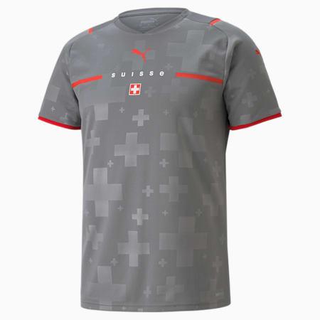 Męska replika koszulki wyjazdowej bramkarskiej reprezentacji Szwajcarii, Smoked Pearl-Puma Red, small