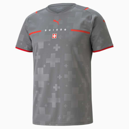 Maillot de goal Extérieur Suisse Replica homme, Smoked Pearl-Puma Red, small
