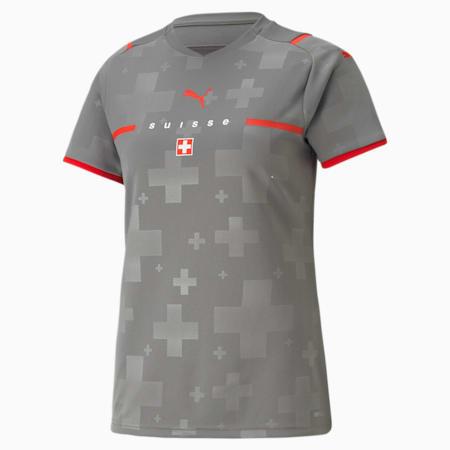 Camiseta de portero réplica de la 2.ª equipación de Suiza para mujer, Smoked Pearl-Puma Red, small
