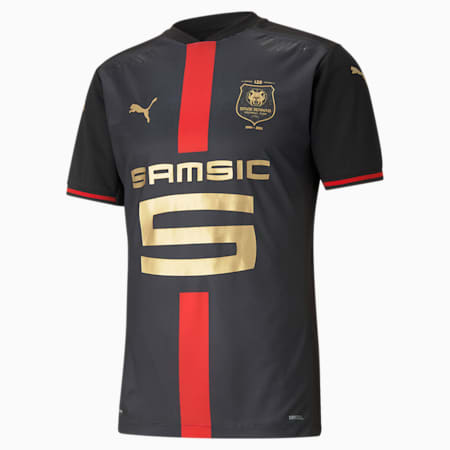 Stade Rennais 120th Anniversary Men's Jersey, Puma Black-Puma Red-Gold, small-GBR