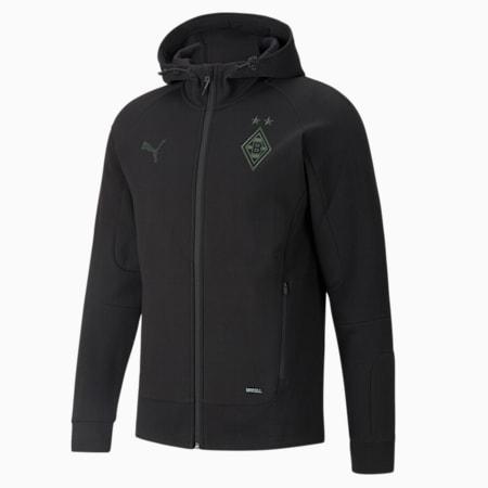 BMG Casuals Men's Hooded Football Jacket, Puma Black-Laurel Wreath-Asphalt, small