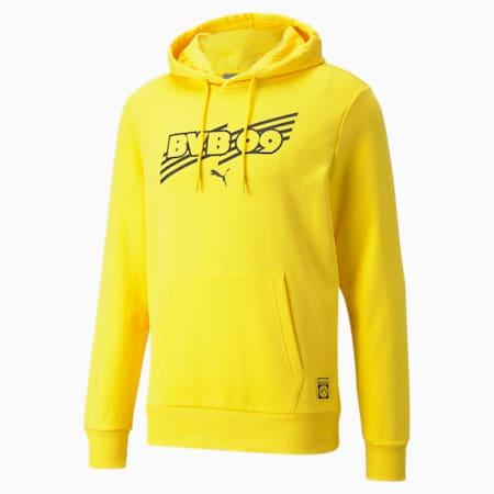 Sudadera con capucha de fútbol BVB FtblCorepara hombre, Cyber Yellow-Puma Black, pequeño