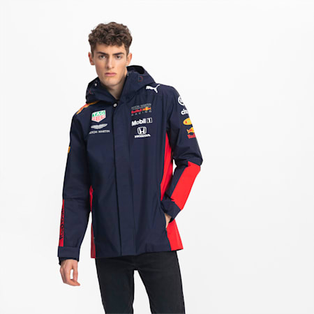 Red Bull Racing Team Hooded Men's Rain Jacket, NIGHT SKY, small