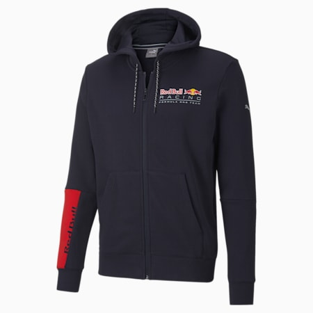 Red Bull Racing Logo Hooded Men's Sweat Jacket, NIGHT SKY, small-SEA