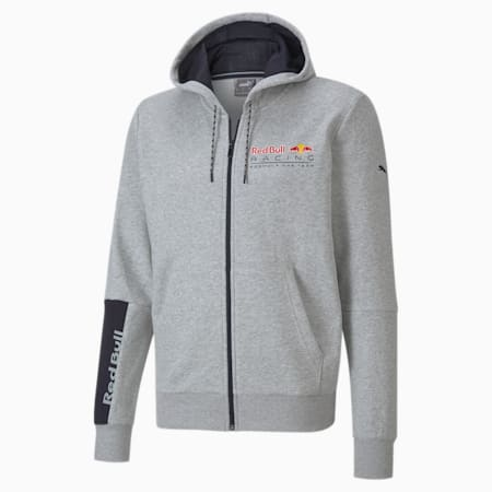 Red Bull Racing Logo Hooded Regular Fit Men's Sweat Jacket, Light Gray Heather, small-IND