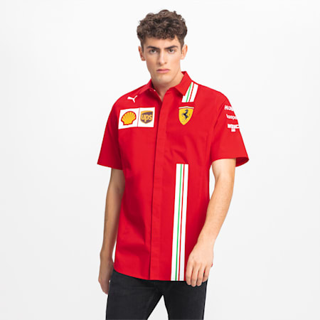 Ferrari Team Short Sleeve Men's Shirt, Rosso Corsa, small
