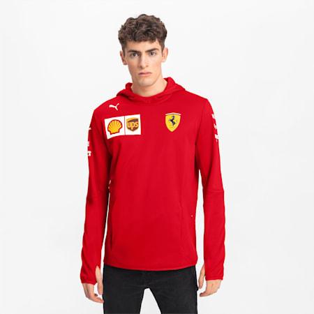 Ferrari Herren Team Tech Fleece Kapuzenjacke, Rosso Corsa, small