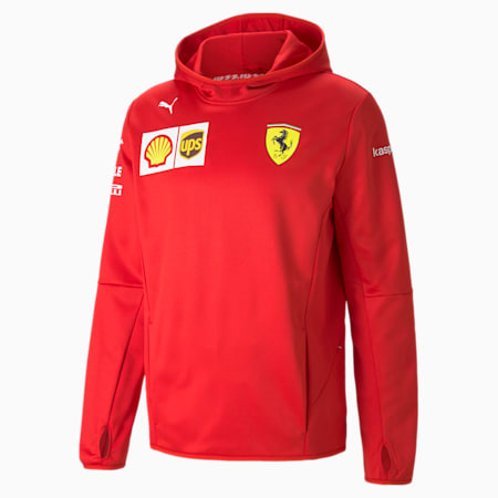 Giacca con cappuccio Ferrari Team Tech in pile uomo, Rosso Corsa, small